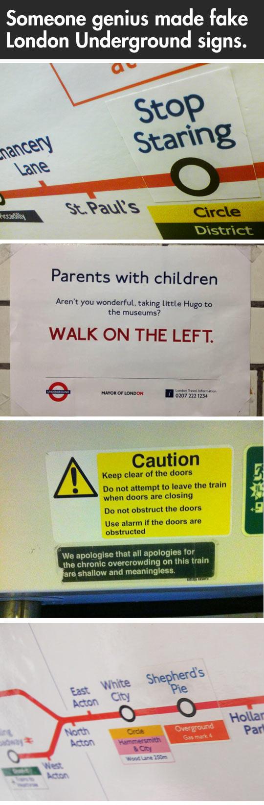 Fake London Underground signs...