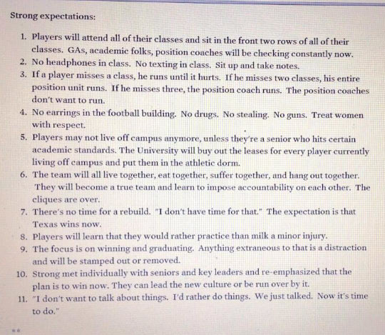 New Texas head football coach's player expectations…