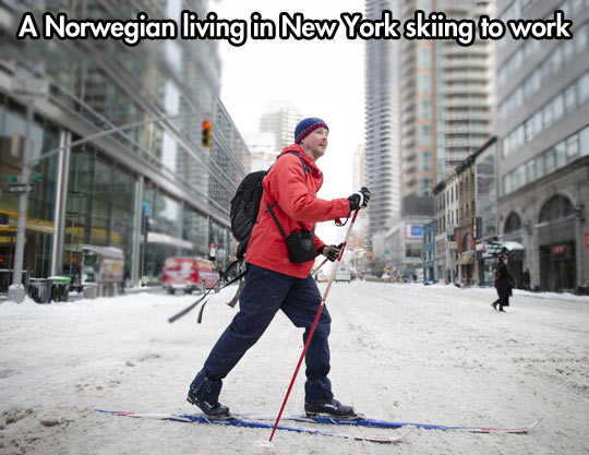 A Norwegian going to work…