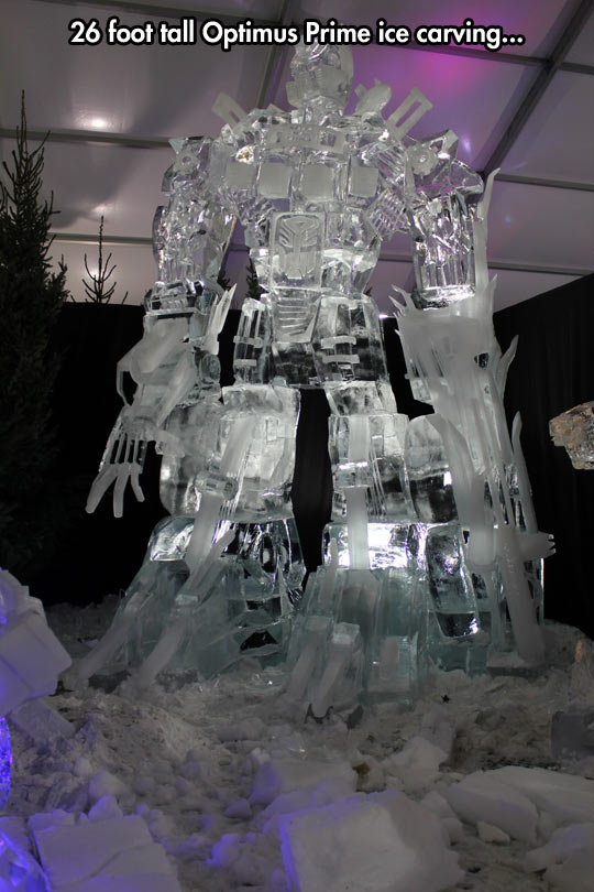 funny-Optimus-Prime-ice-carving