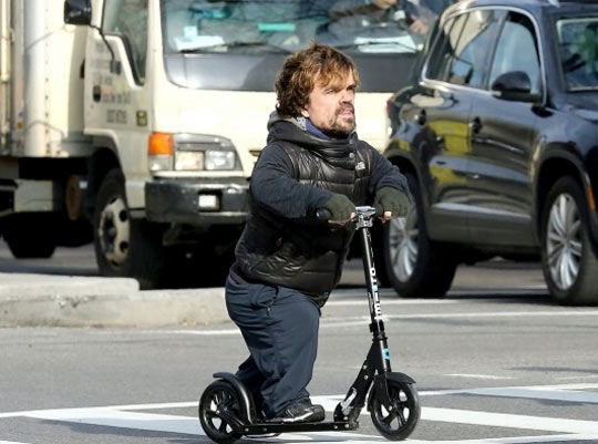 Peter Dinklage on a razor scooter…