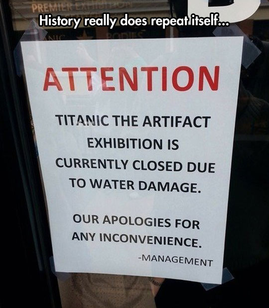 funny-Titanic-artifact-door-sign-water-damage