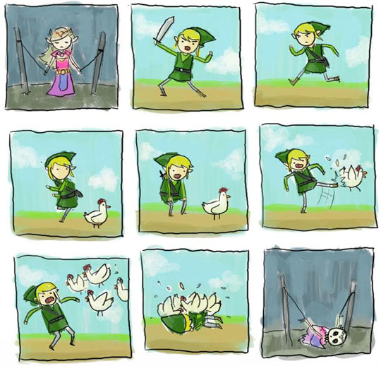 funny-Zelda-Link-attention-disorder-chicken