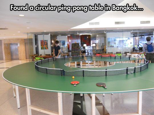 Circular ping-pong table…