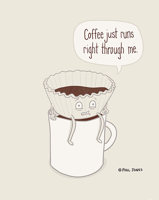 A coffee filter that shares my struggles with coffee…