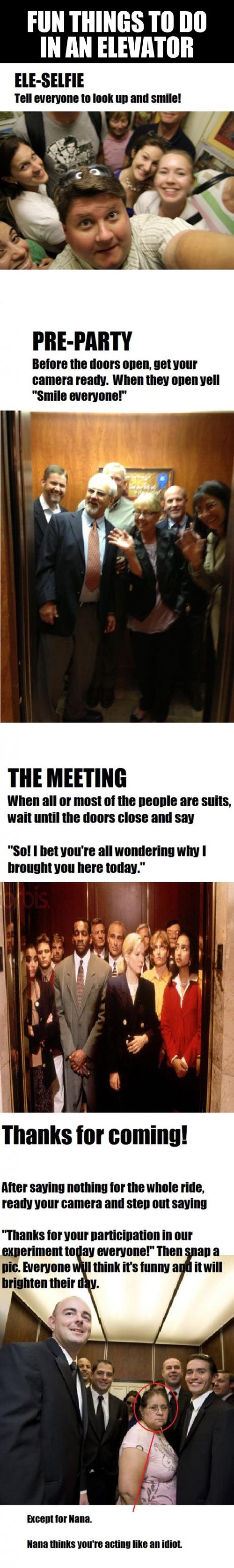 Having fun in the elevator…