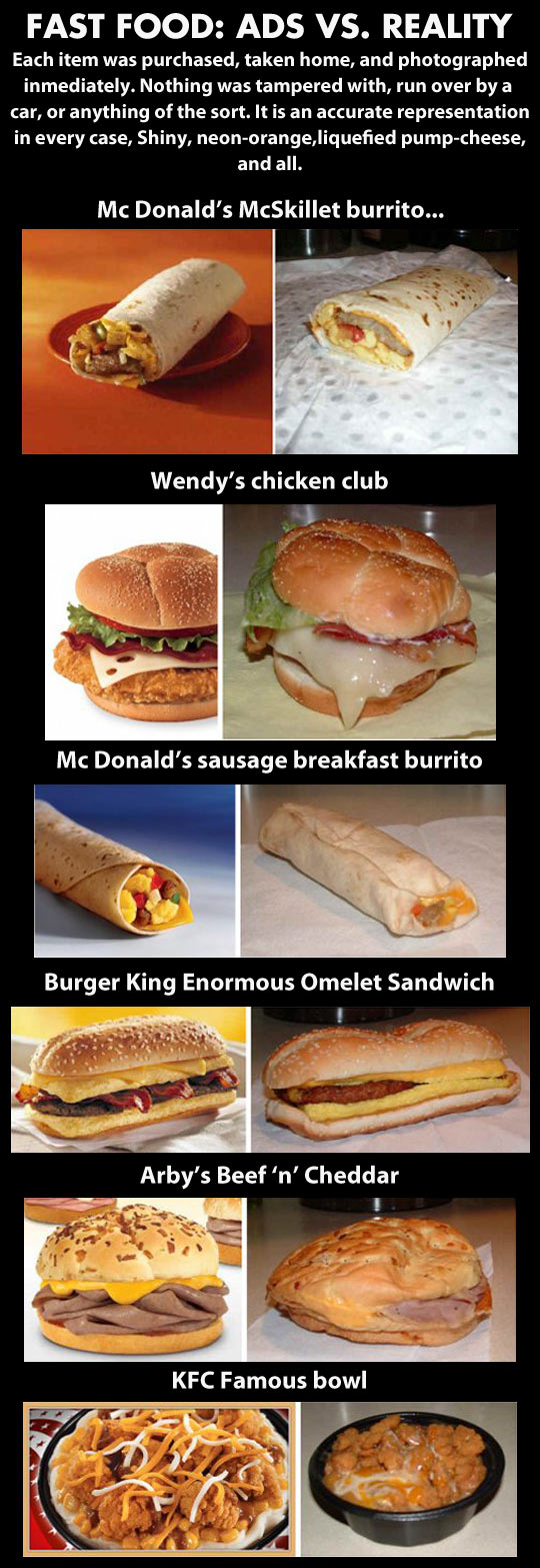 Fast food: truth vs. advertising...