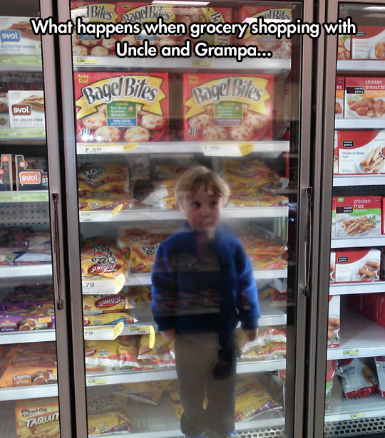 Grocery shopping with uncle and grandpa…