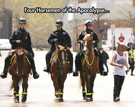 The suspect is horsing around, need backup…