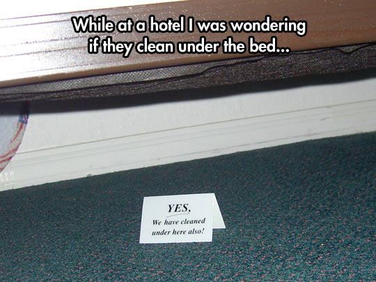 Ever wondered if they clean under the bed at your hotel?