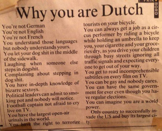 Why the Dutch are great…