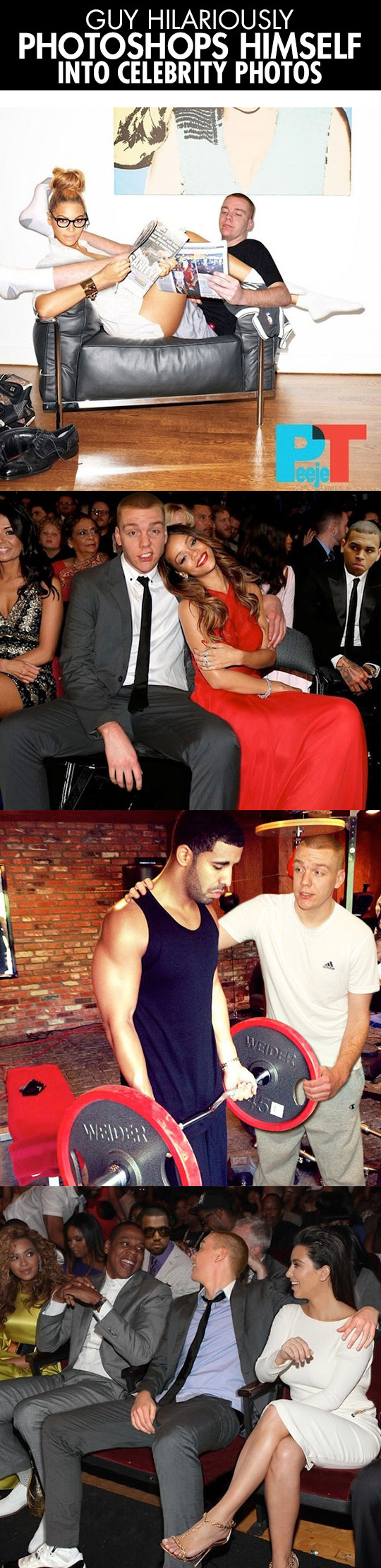 Guy photoshops himself into celebrity photos...