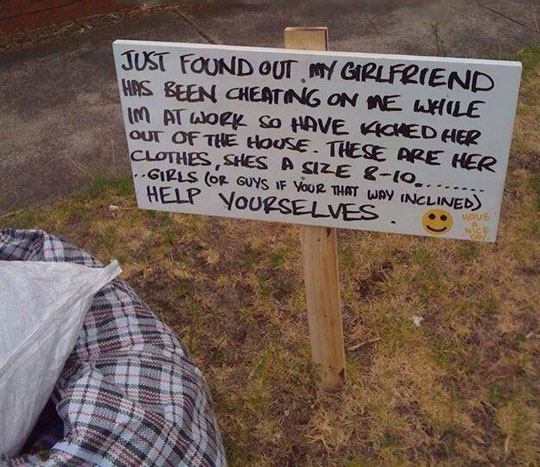 funny-sign-girlfriend-clothes-cheating-yard