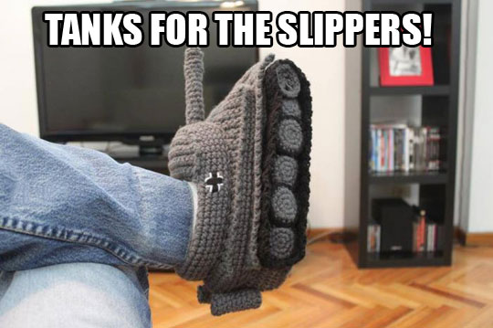 funny-tank-slippers-knitted-pants