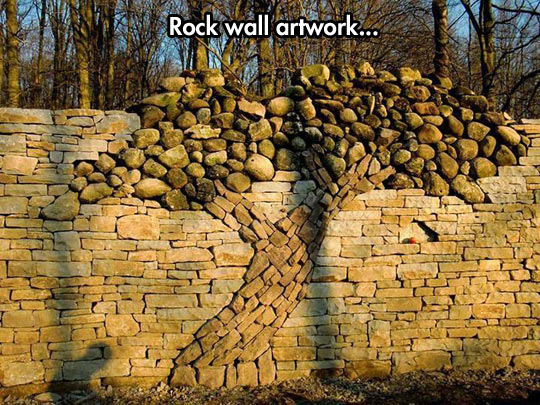 A stone tree in a wall…