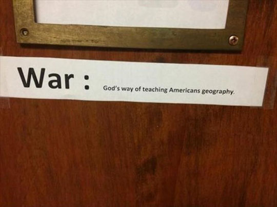 Teaching Americans geography…