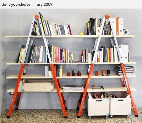 Build a Bookshelf With Two Ladders and Planks of Wood