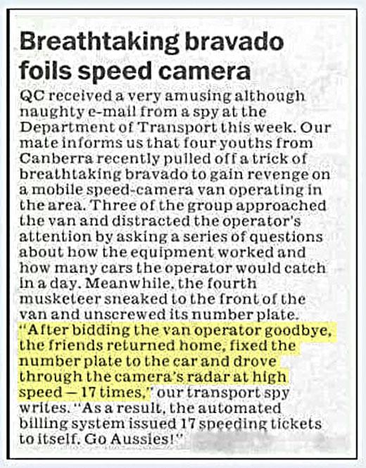 Handling speed cameras the Aussie way