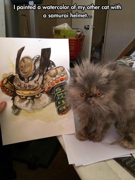 Samurai cat painting