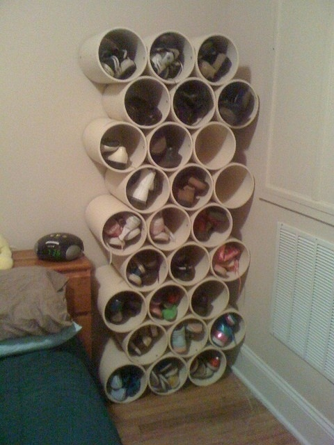 Stack PVC Pipe or Paint Cans as Shoe Storage