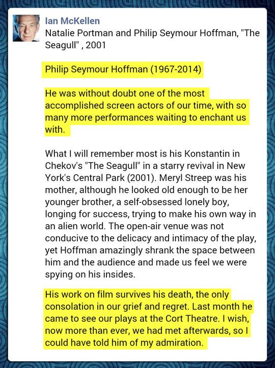 Sir Ian McKellen's tribute to Philip Seymour Hoffman…