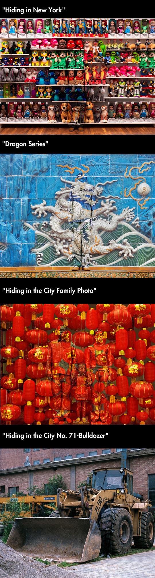 Chinese artist Liu Bolin paints himself to blend into his surroundings...