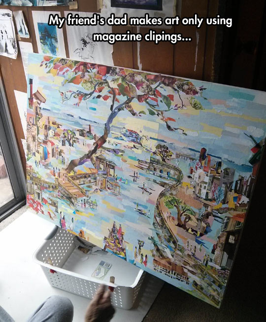 The entire thing is made of magazine clippings…