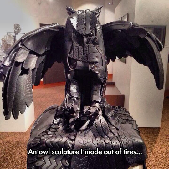 cool-owl-sculpture-tires-materials