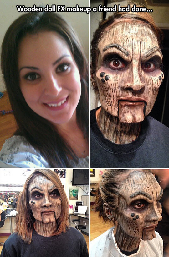 Wooden doll makeup…