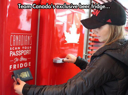 It's next to the maple syrup vending machine…