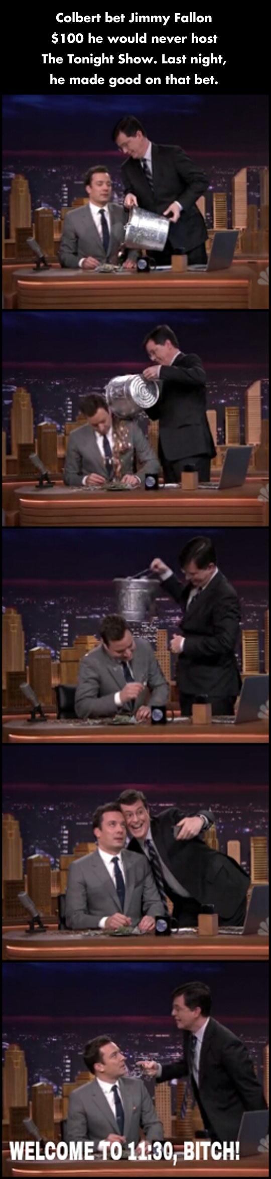 Colbert always pays his debts…