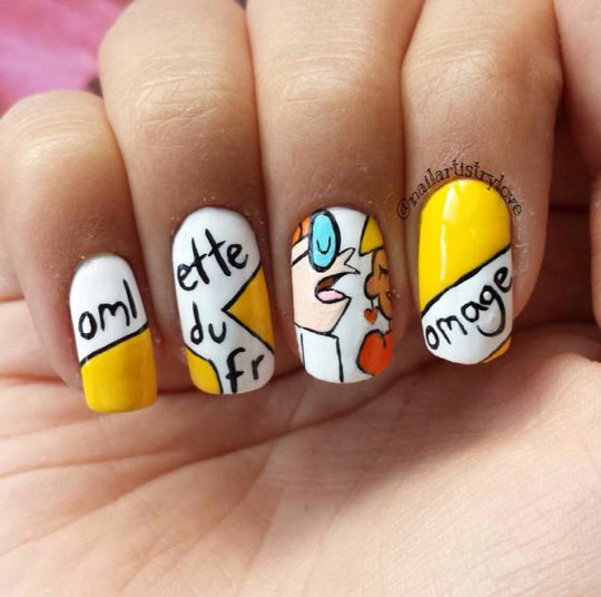 funny-Dexter-Lab-French-nail-art