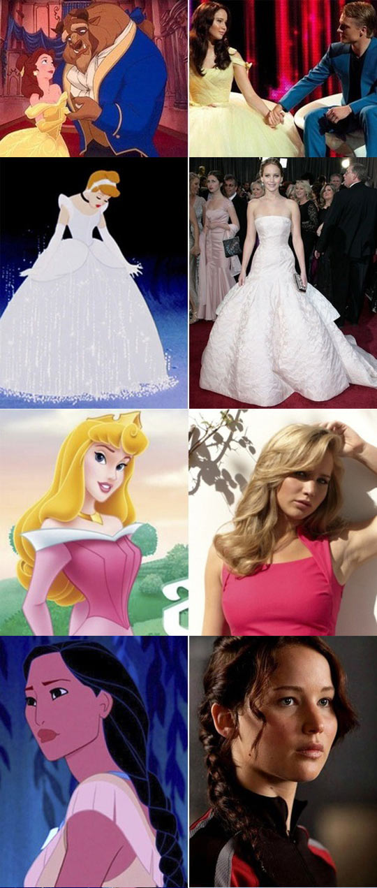 funny-Jennifer-Lawrence-Disney-lookalike-dresses-Cinderella