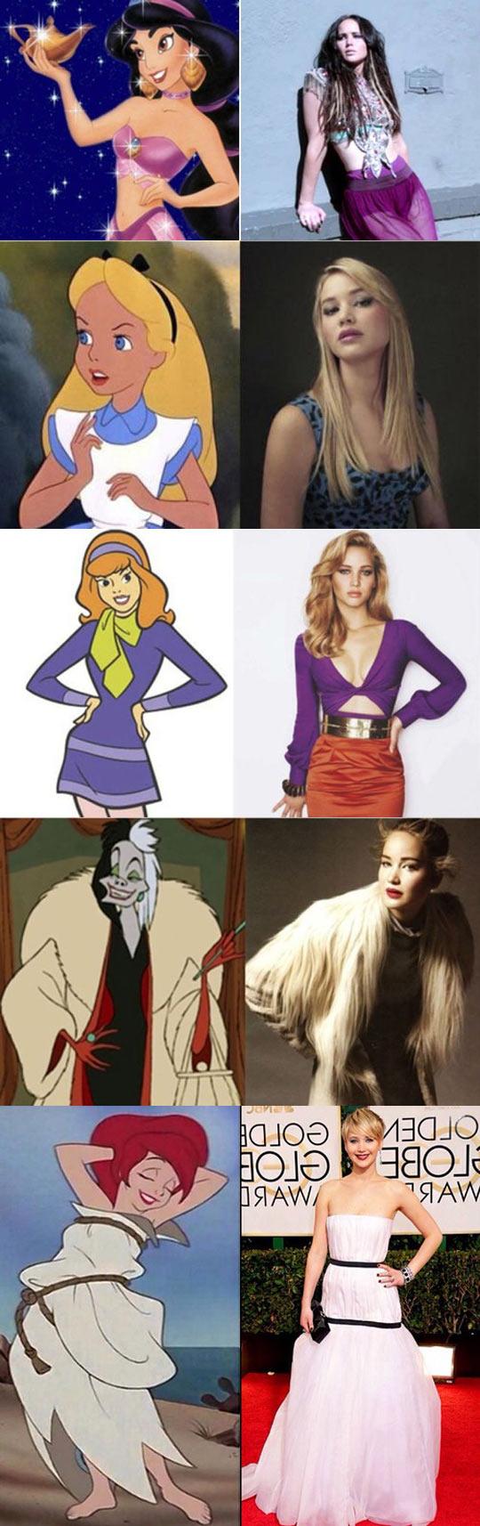 funny-Jennifer-Lawrence-Disney-lookalike-dresses