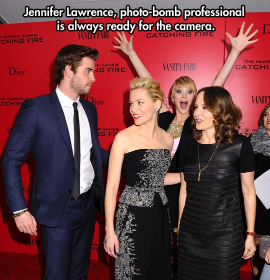 Photobomb level: Jennifer Lawrence…