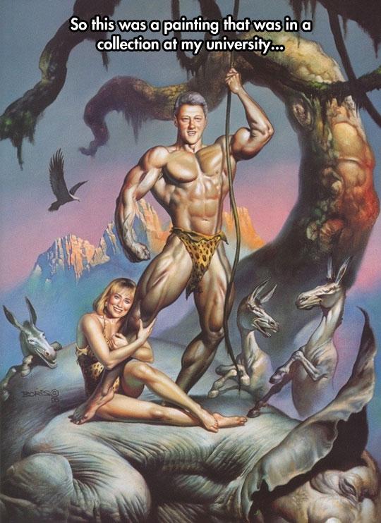 funny-Tarzan-Bill-Clinton-drawing