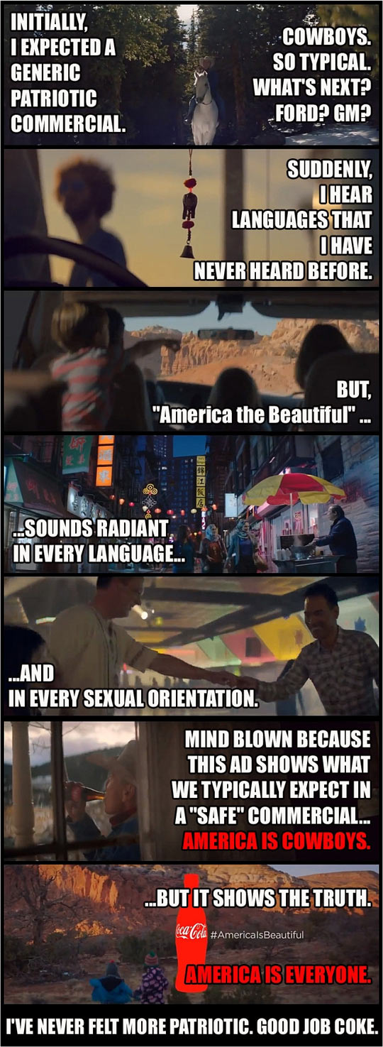This is why I like Coke's Superbowl ad…