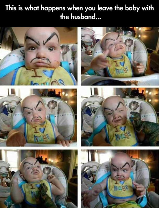 funny-baby-marker-face-father-alone