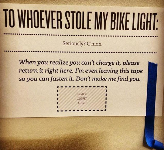 Good luck finding your bike light…