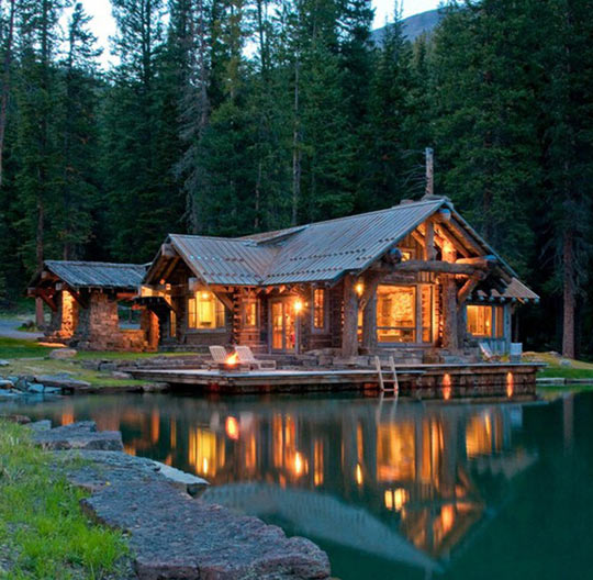 funny-cabin-lake-forest-wood-rusty