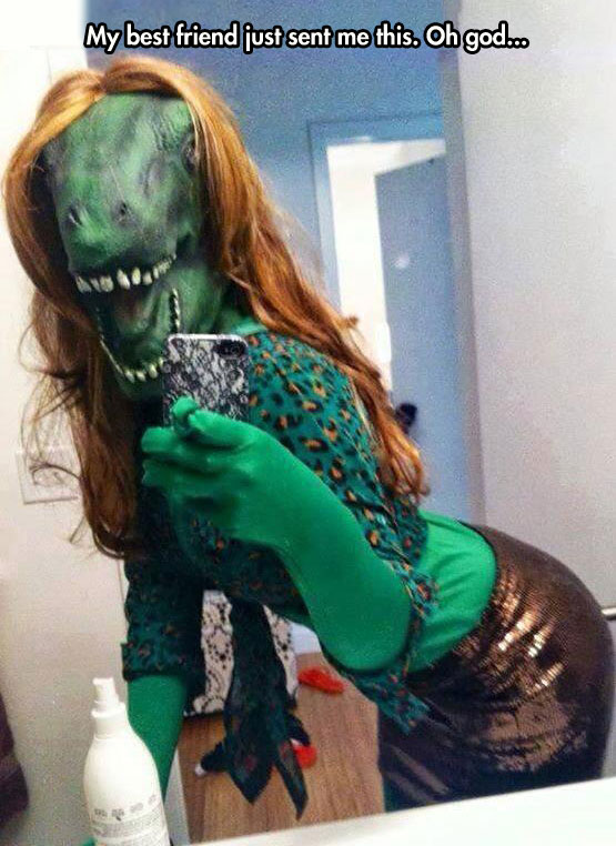 funny-costume-lizard-green-selfie-girl