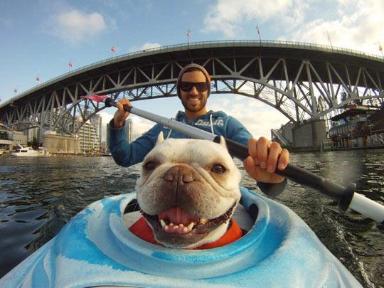 Kayaking makes him happy…