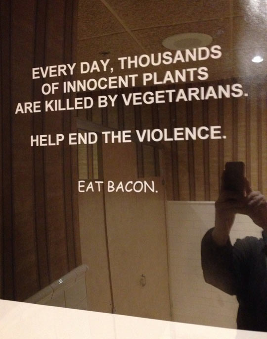 funny-sign-mirror-vegetarians-bacon