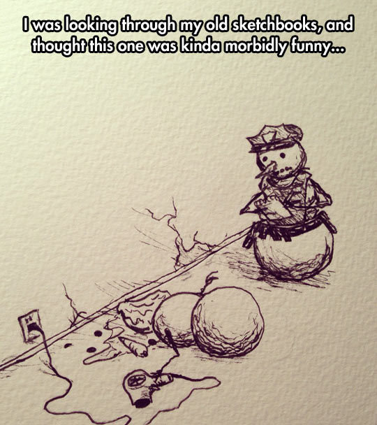 funny-snowman-police-drawing-hairdryer