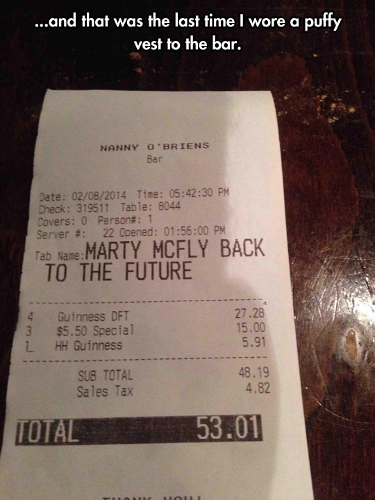 They bring the bill…