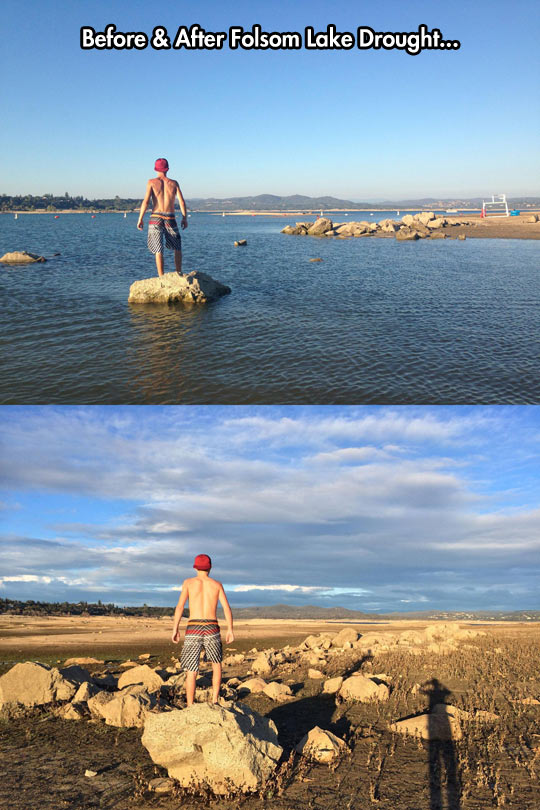 A couple of pictures to illustrate the drought in California