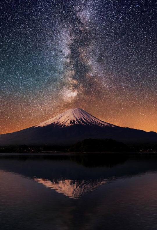 The Milky Way Behind Mt. Fuji, Japan