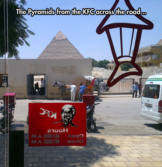 The Pyramids Make a Nice Background For KFC