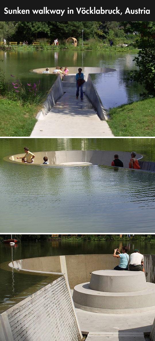 funny-sunken-walkway-seats-lake