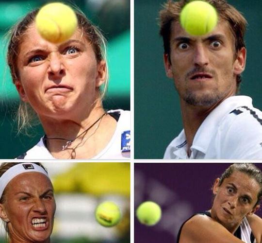 Tennis Players Practicing Telekinesis